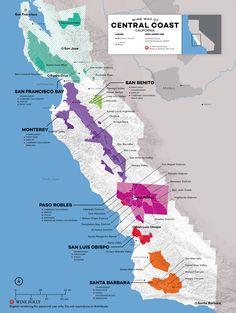 The wine regions of Monterey, Paso Robles, Santa Barbara, Sta Rita Hills, Santa Cruz and more. Sta Rita, San Francisco, San Diego, Wine Folly, Barolo Wine, Usa Tumblr, California Dreamin', Central California, Central Coast
