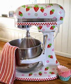 Kathys Cottage: New Designs in the Shop  strawberry Kitchen Aid mixer