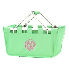 Large Monogrammed Market Totes - Market Totes are not only great for a little eco-friendly shopping and fun storage, but make a wonderful base for gift basket giving!  Fill with all of your Valentine, Easter, Christmas, Birthday, New Baby, New Puppy, Sorority Sister necessities or any occasion gift items to create a perfect, unique, monogrammed gift!  Definitely a dorm necessity - great basket to use as a catch-all or carry-all! A back to school must have! BeauJax Boutique www.beaujax.com