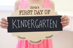 """Back to school ideas! Grab this adorable personalized """"first day of"""" chalkboard sign photo prop sign. Available now for 50% off pickyourplum.com"""
