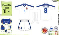 Colombia 3rd kit for the 1998 World Cup Finals.
