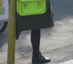 Chloe studded boots & neon Cambridge satchel