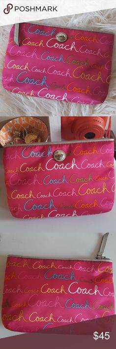 """Coach Clutch Pink and more colors Cute Coach Clutch. Never been used. Measures approx 9"""" x 6"""". Last two pics using flash. Coach Bags Clutches & Wristlets"""
