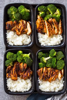 Quick skillet chicken, rice, and steam broccoli all made in under 20 minutes for a healthy meal-prep lunch box that