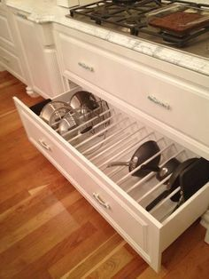 Better Kitchen Organization: File Your Pots and Pans In Drawers! - Better Kitchen Organization: File Your Pots and Pans In Drawers! Drawer Organizing ideas from The - Kitchen Cabinet Organization, Kitchen Drawers, Storage Cabinets, Kitchen Cabinets, Organization Ideas, Storage Ideas, Kitchen Countertops, Organizing, Cabinet Organizers