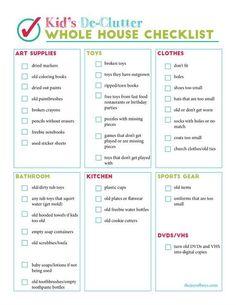 Kids Declutter Checklist Deep Cleaning Tips, House Cleaning Tips, Cleaning Hacks, Cleaning Schedules, Daily Cleaning, Cleaning Lists, Spring Cleaning Checklist, Cleaning Routines, Clean House Checklist