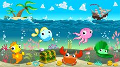 Funny scene under the sea. Vector cartoon illustration.  Folder contains:  EPS file; High Resolution JPG file; High Resolution PSD