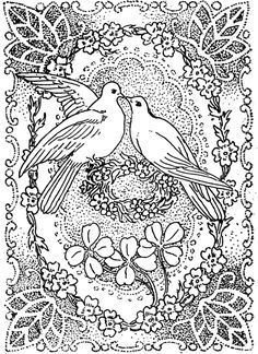 Peace and Love Coloring Pages | Doves Kissing in Peace and Love : Great for Valentines Day Coloring ...