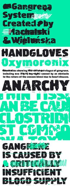 Gangrena System - Gangrena is a display font family, based on a old letter sets and style of UK punk poster...