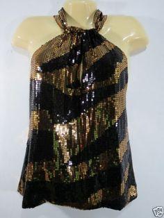 New-MODA-international-Victoria-039-s-Secret-Black-Gold-Sexy-Halter-Top-Sequin-Bling