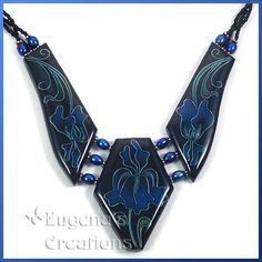 polymer clay necklaces faux | One-of-a-kind necklace with three faux cloisonne focal beads
