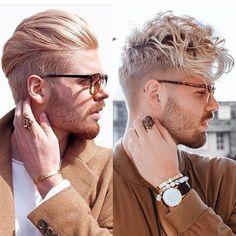 Men's Hair, Blonde 2 ways, wavy and straight