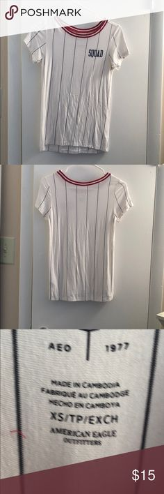 T-shirt White tee from AE that has navy blue stripes, red and white neckline and the front of the shirt says SQUAD American Eagle Outfitters Tops Tees - Short Sleeve