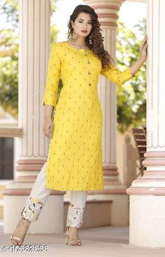 Dupatta Sets Women's Printed Yellow Rayon Kurta Set with Pants Kurta Fabric: Rayon Bottomwear Fabric: Cotton Blend Fabric: Rayon Sleeve Length: Three-Quarter Sleeves Set Type: Kurta With Bottomwear Bottom Type: Pants Pattern: Printed Multipack: Pack Of 2 Sizes: M (Bust Size: 38 in Shoulder Size: 14.5 in Kurta Waist Size: 36 in Kurta Hip Size: 40 in Kurta Length Size: 44 in)  Country of Origin: India Sizes Available: S, M, L, XL, XXL   Catalog Rating: ★4 (450)  Catalog Name: Women Rayon Straight Printed Palazzos Dupatta Set CatalogID_1936867 C74-SC1853 Code: 025-10582858-2331