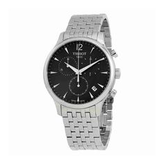 Tissot Men's T063.617.11.067.00 Charcoal Stainless Steel Bracelet Watch with Black Dial. Polished stainless steel watch featuring multi-function black dial with date window. 45 mm stainless steel case with mineral dial window. Swiss quartz movement with analog display. Stainless steel bracelet with deployment-clasp closure. Water resistant to 30 m (99 ft): In general, withstands splashes or brief immersion in water, but not suitable for swimming.