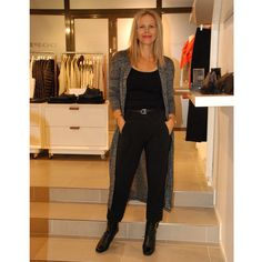 Black trousers@In Wear and nice cardigan@Soaked In Luxury