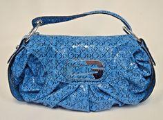 GUESS Beautiful Blue Aliza Embossed G Faux Patent Shoulder Bag Purse #GUESS #ShoulderBag