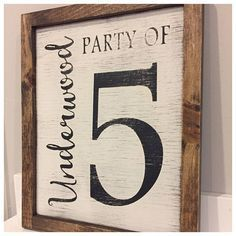 Family number sign . Party of with family name . Gallery Wall Decor . Rustic Family Number . hand painted . Farmhouse signs