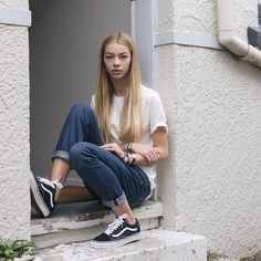 vans old skool outfits women - Google Search