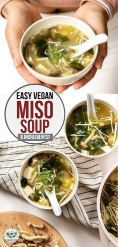 recipes healthy easy The Best Vegan Miso Soup This Vegan Miso Soup is easy, cozy, and gut-healthy. Plus you only need 7 ingredients, 10 minutes, and one pot to make it! Vegan Chicken Noodle Soup, Tofu Soup, Chicken Soup Recipes, Miso Noodle Soup, Vegan Miso Soup, Vegan Soups, Healthy Miso Soup, Vegan Food, Easy Healthy Recipes