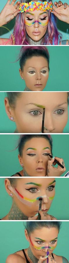 Wearable Rainbow | 17 Summer Festival Makeup Ideas for Teens and the Coachella bound!