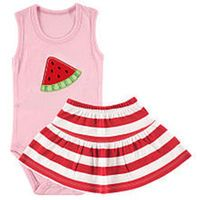 Hudson Baby Girls 2 Piece Pink Sleeveless Bodysuit with Watermelon Applique and Red/White Striped Skirt Set