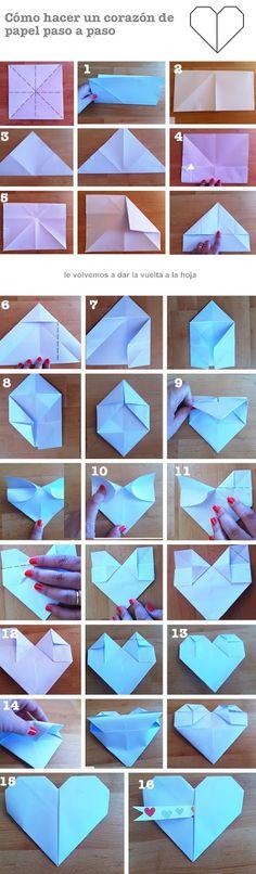 Tutorial. Corazón de origami: http://manualidades.euroresidentes.com/2013/05/corazon-de-papel-con-mensaje-oculto.html