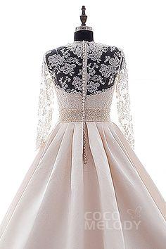 Impressive A-Line Chapel Train Satin Long Sleeve Zipper with Button Wedding Dress Beading h2ls0108