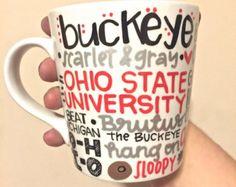 Ohio State Buckeyes Coffee Mug Hand Painted - OSU Mug Ohio State Mug - Ohio State - Ohio State Mug