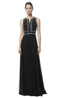 Sleeveless Embellished Slit Neck Gown