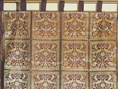 Chocolate and Gold Brocade Indian Fabric Stylish Shimmering Window Curtain Panel