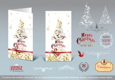 Christmas decoration collection Set of calligraphic and typographic elements, frames, engraving vintage labels and Greeting cards.