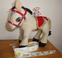 MUFFIN THE MULE by Chiltern Hygienic Toys Ltd plus Tape Measure and Ribbon c1950s