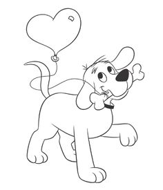 Here's Clifford with a balloon for you!  Give someone special a Clifford-themed valentine!  Keywords: printable, coloring sheet, Clifford, heart, valentine's day, #valentine