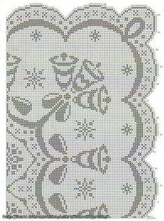 Christmas filet crochet tablecloth pattern diagram Doily Patterns, Embroidery Patterns, Cross Stitch Patterns, Crochet Patterns, Filet Crochet Charts, Crochet Borders, Crochet Tablecloth Pattern, Crochet Doilies, Crochet Carpet