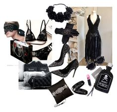 """""""Black Wedding (and wedding night ♥)"""" by katymaybepsycho ❤ liked on Polyvore featuring Dolls Kill, OuiHours, Ivy Lane Design and Allurez"""