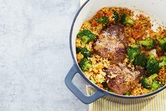 Ginger Orange Steaks with Apricot Couscous—Make this entire meal in one Dutch oven by cooking each element consecutively. The sauce is enhanced by the browned bits that are left in the pan after cooking the steaks. The couscous takes minutes to prepare, making this dinner a go-to for time-pressed evenings.