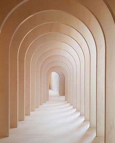 Light peach tan arches in hallway minimal architecture minimal photography – 2019 - Architecture Decor Cream Aesthetic, Brown Aesthetic, Minimal Architecture, Interior Architecture, Arch Interior, Interior Painting, Diy Interior, Drawing Architecture, Futuristic Architecture