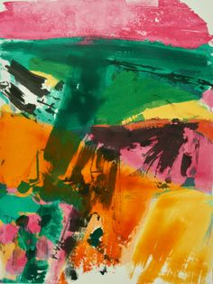 Monotype print Sunshine I by contemporary British painter and printmaker Iona Stern. Printmaking, Sunshine, Colour, Contemporary, Abstract, Artwork, Painting, Art, Art Work