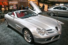 The Mercedes-Benz SLR McLaren is a grand tourer car jointly developed by Mercedes-Benz and McLaren Automotive, built in Portsmouth and the McLaren Technology Centre in Woking, Surrey, England and sold from 2003 to Gold Mercedes, Mercedes Benz, Slr Mclaren, Tokyo Motor Show, Daimler Ag, Car Colors, Car Brands, Luxury Cars, Dream Cars