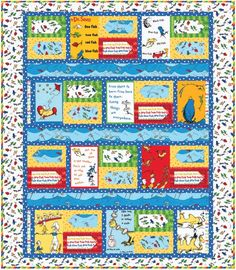 Dr. Seuss One Fish Two Fish Handmade Baby Crib Quilt Toddler Lap Blanket Twin Size Bed Quilt by TBQSC on Etsy