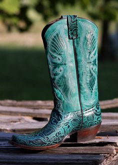 FLORAL TURQUOISE BOOTS   Available @INDIOS  www.FACEBOOK.COM/INDIOS.BOOTS