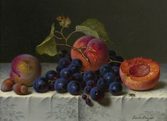 """Emilie Preyer """"Still Life of Peaches, Grapes and Nuts on a Table"""" (19th century) 