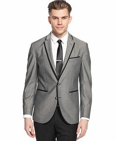 Kenneth Cole Reaction Sport Coat Grey Solid with Black Lapel and Pocket Edging Slim Fit - Blazers & Sport Coats - Men - Macy's