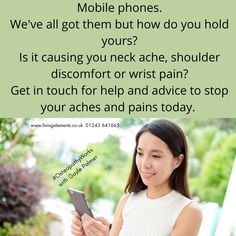 Its not always a blessing - sometimes it can be a real PAIN having a phone! Tendonitis, arthritis, neck pain and headaches to name a few of the problems. Fortunately #OsteopathyWorks so see treatment soon. Gayle Palmer at the Living Elements Clinic is an expert at restoring function. Wrist Pain, Neck Pain, Tennis Elbow, Sore Eyes, Health Advice, A Blessing, Arthritis, Clinic, Muscle