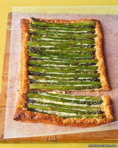 puff pastry, asparagus and something creamy (goat cheese? brie? cream cheese?)
