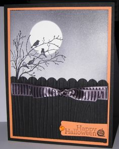 Love the use of a circle to mat to create this crisp Halloween Moon