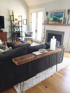 Custom Console Table - Reclaimed Wood Floorboards - BB Krizna - Living room Custom Console Table - R Diy Sofa Table, Sofa Tables, Interior Design Living Room, Living Room Designs, Home Living Room, Living Room Decor, Table Behind Couch, Diy Tisch, Living Room Color Schemes