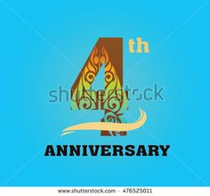 anniversary logo with javanese shadow puppet pattern 4th