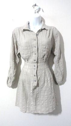 Anthropologie Staring at Stars Button Up Shirt Dress Tunic Career Small S #StaringatStars #ShirtDress #Casual